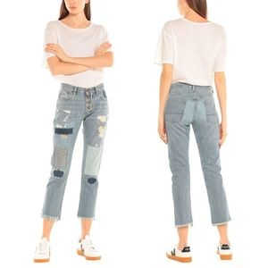 NSF Patch Ripped Slim Straight Jeans